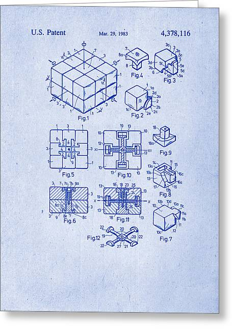 Rubix Cube Patent Drawing 1983 Greeting Card by Patently Artful