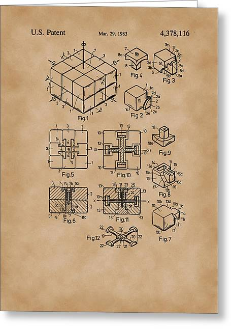 Rubix Cube Patent Drawing 1983 Vintage Greeting Card by Patently Artful
