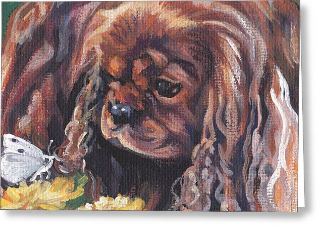 Greeting Card featuring the painting Ruby Cavalier King Charles Spaniel by Lee Ann Shepard