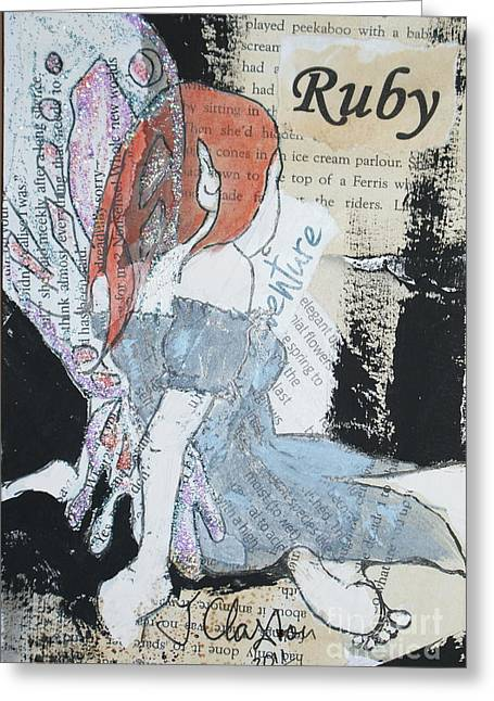 Ruby Fairy Greeting Card by Joanne Claxton