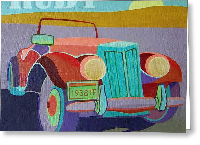Ford Hotrod Greeting Cards - Ruby Ford Roadster Greeting Card by Evie Cook