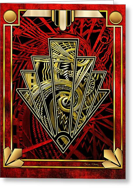 Greeting Card featuring the digital art Ruby Red And Gold by Chuck Staley