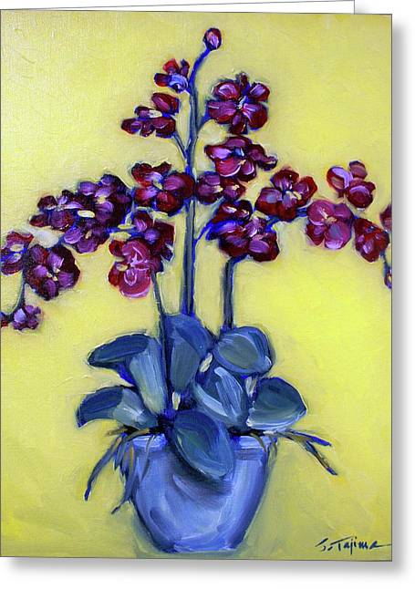 Ruby Red Orchids Greeting Card by Sheila Tajima