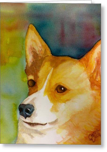 Ruby The Corgi Greeting Card by Cheryl Dodd