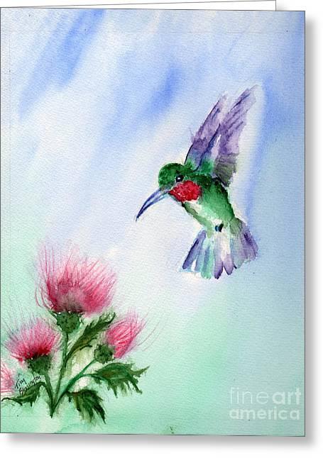 Ruby Throated Hummingbird Greeting Card by Doris Blessington
