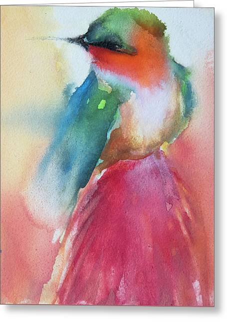 Ruby Throated Hummingbird On A Red Hot Poker Flower Wip Greeting Card