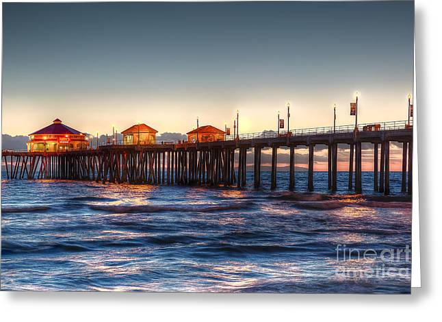 Greeting Card featuring the photograph Ruby's Surf City Diner At Twilight - Huntington Beach Pier by Jim Carrell