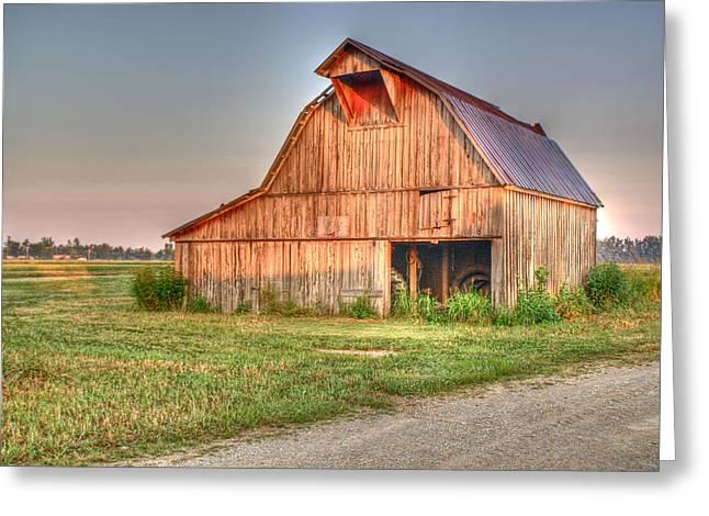 Ruddish Barn At Dawn Greeting Card by Douglas Barnett