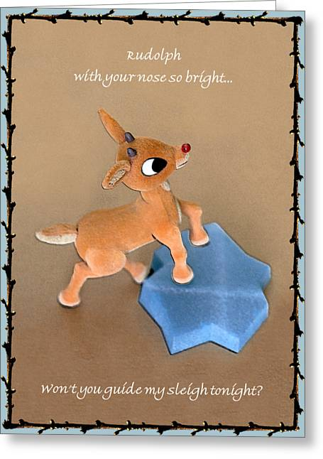 Greeting Card featuring the digital art Rudolph Guide by Ellen Barron O'Reilly