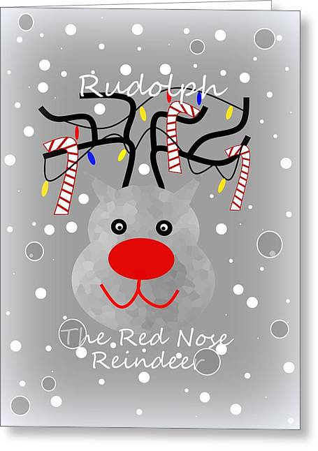 Rudolph Greeting Card by Kathleen Sartoris