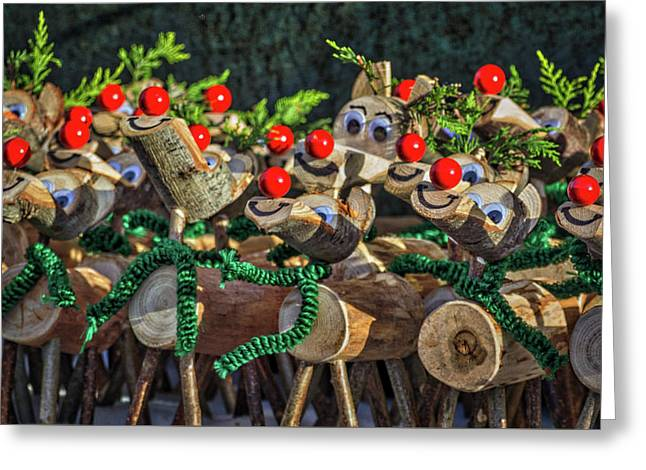 Rudolph Knows. Greeting Card by Angela Aird