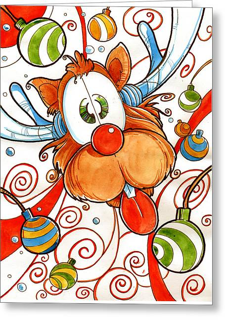 Rudolph The Red Nose Deer Greeting Card by Luis Peres