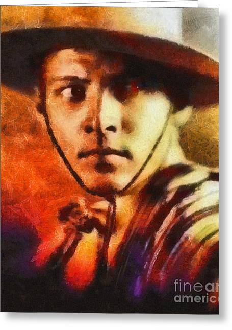 Rudolph Valentino, Vintage Hollywood Legend Greeting Card by Mary Bassett