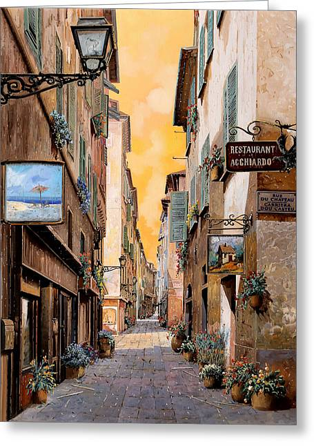 Rue Droite Nice  Greeting Card by Guido Borelli