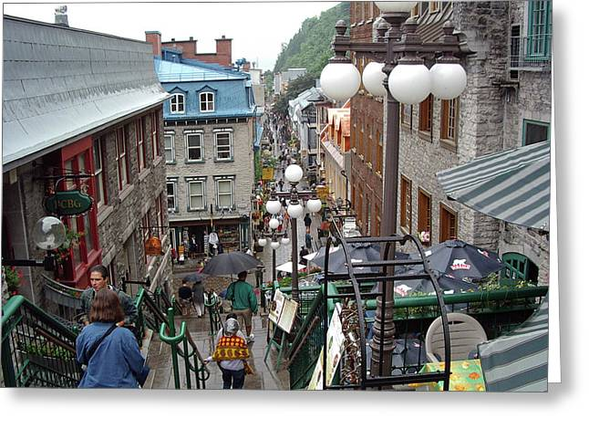 Greeting Card featuring the photograph rue du Petit Champlain by John Schneider