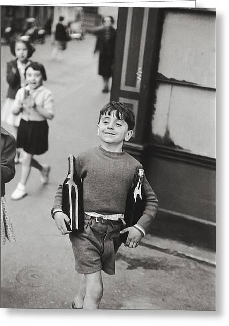 Rue Mouffetard By H. Cartier Bresson Greeting Card by Hans Wolfgang Muller Leg