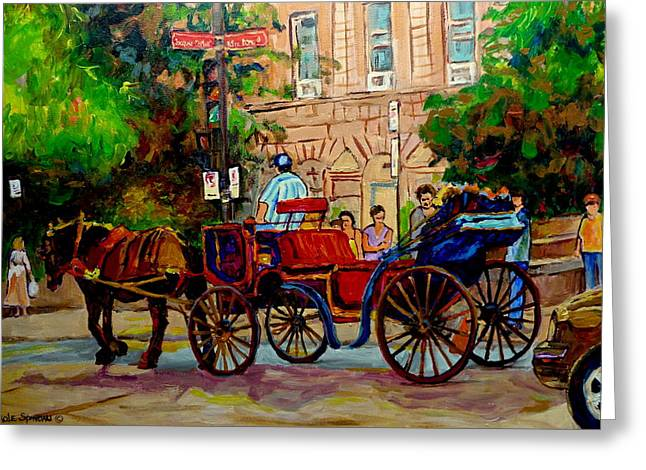 Rue Notre Dame Montreal Greeting Card by Carole Spandau
