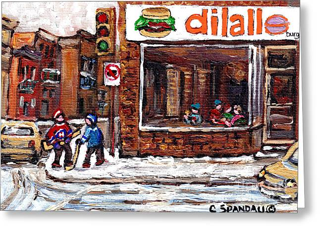 Rue Notre Dame Montreal Winter Street Scene Paintings Dilallo Burger Hockey Scenes Canadian Art Greeting Card by Carole Spandau