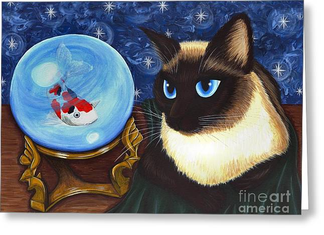 Rue Rue's Fortune - Siamese Cat Koi Greeting Card