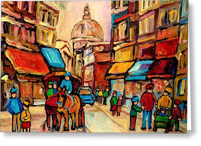 Rue St Jacques Old Montreal Streets  Greeting Card by Carole Spandau