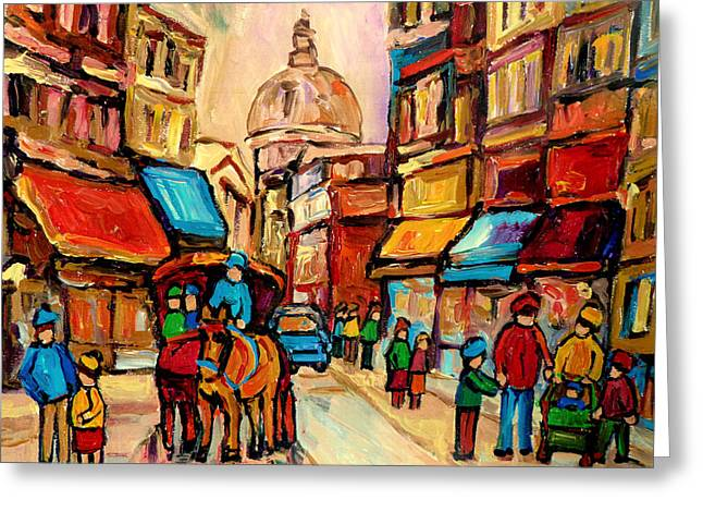 From The Dome Greeting Cards - Rue St. Paul Old Montreal Streetscene Greeting Card by Carole Spandau