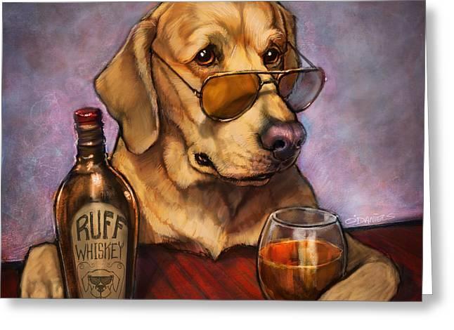 Ruff Whiskey Greeting Card by Sean ODaniels