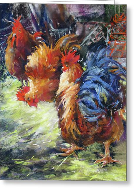 Ruffled Feathers Greeting Card by Rae Andrews