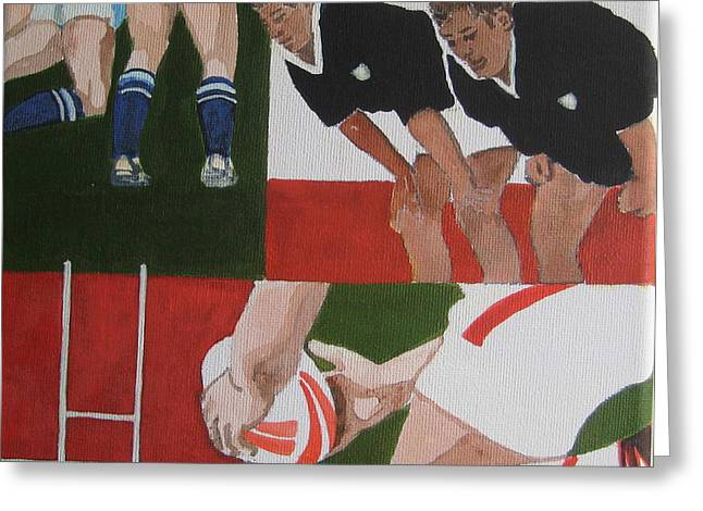 Rugby 2 Greeting Card by Pat Barker