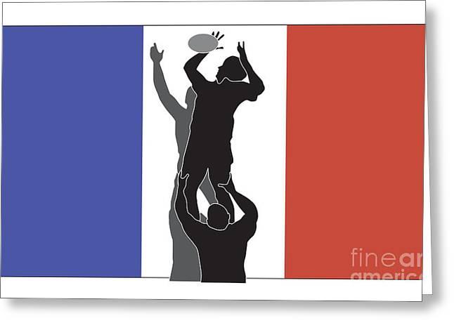 Rugby France Greeting Card by Aloysius Patrimonio