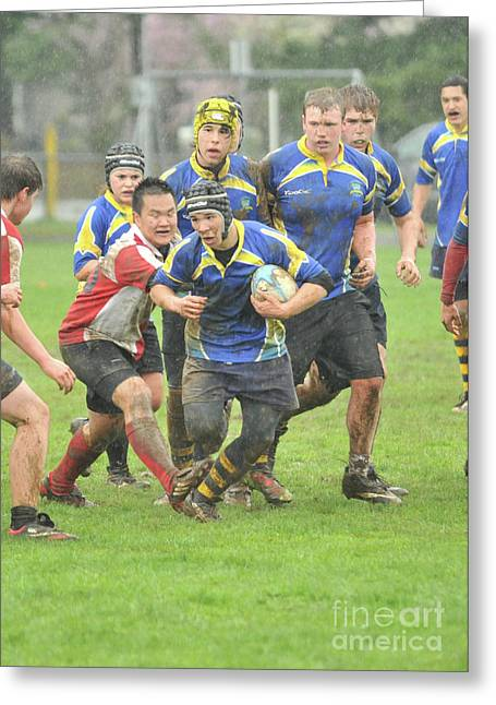 Rugby In The Mud Greeting Card