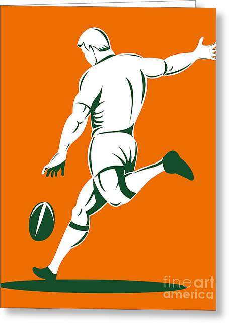 Rugby Player Kicking Greeting Card