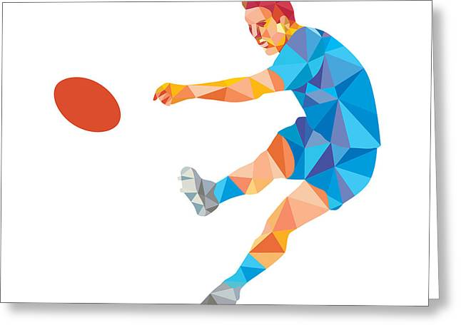 Rugby Player Kicking Ball Low Polygon Greeting Card