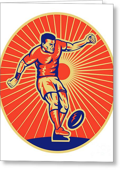 Rugby Player Kicking Ball Woodcut Greeting Card by Aloysius Patrimonio