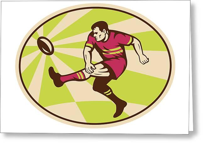 Rugby Player Kicking The Ball Retro Greeting Card by Aloysius Patrimonio