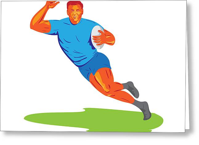Rugby Player Running Ball Wpa Greeting Card