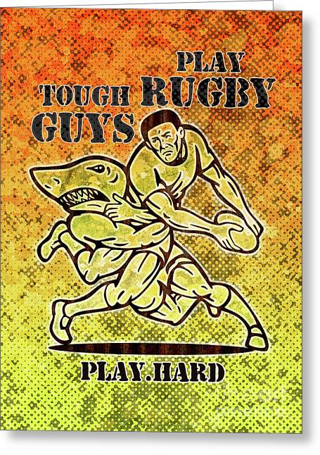 Rugby Player Running With Ball Attack By Shark Greeting Card by Aloysius Patrimonio