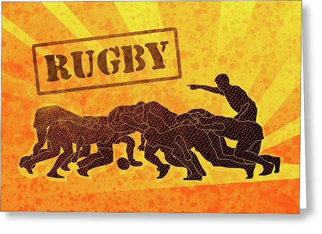 Rugby Players Engaged In Scrum  Greeting Card by Aloysius Patrimonio