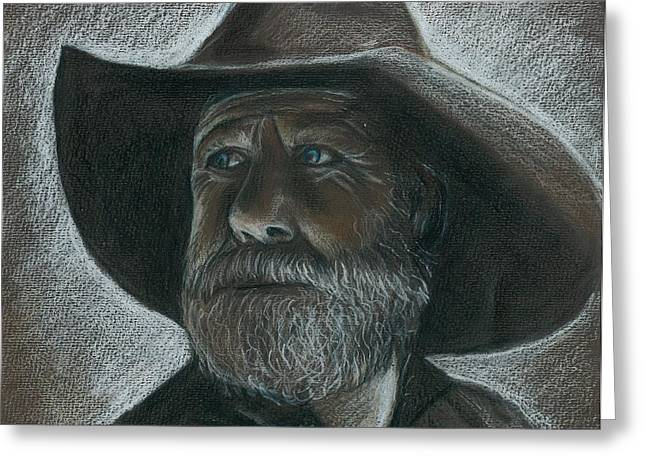 Rugged Blue Eyed Cowboy Greeting Card
