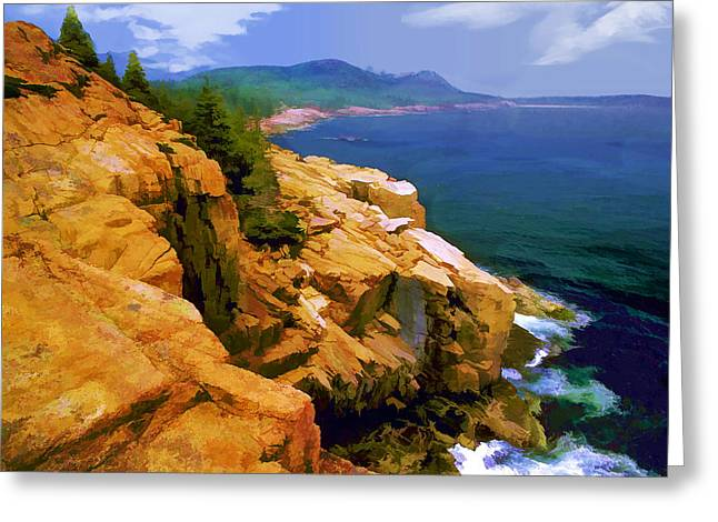 Rugged Coast Of Maine At Acadia National Park Greeting Card by Elaine Plesser