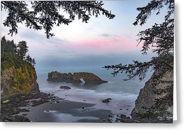 Rugged Coast Sunrise Greeting Card by Leland D Howard