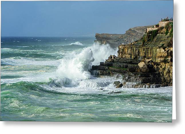Greeting Card featuring the photograph Rugged Coastal Seascape by Marion McCristall