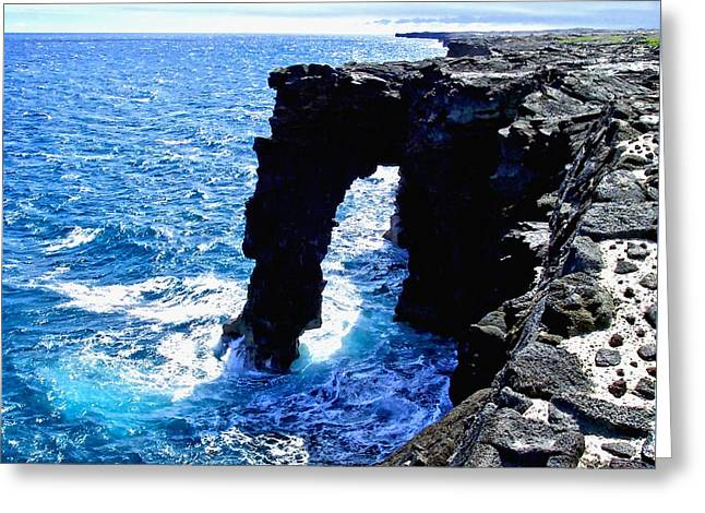 Greeting Card featuring the photograph Rugged Kona Sea Arch by Amy McDaniel