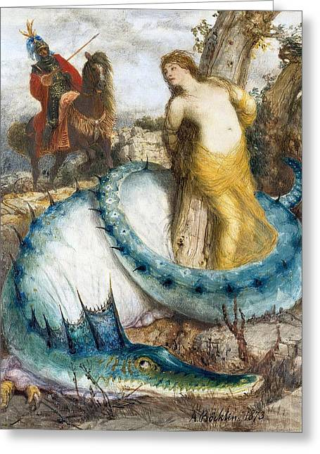 Ruggiero And Angelica Greeting Card by Arnold Boecklin