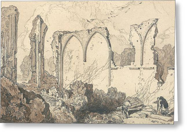 Ruin Behind The Free School, Thetford, Suffolk Greeting Card by John Sell Cotman