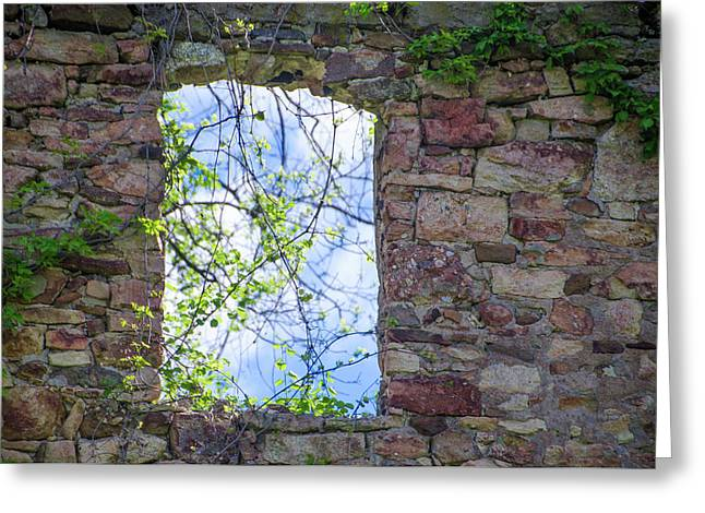 Greeting Card featuring the photograph Ruin Of A Window - Bridgetown Millhouse  Bucks County Pa by Bill Cannon