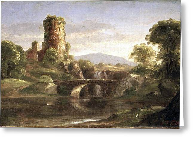 Ruined Castle And River Greeting Card by Thomas Cole