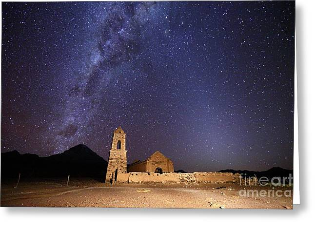 Ruined Church Milky Way And Zodiacal Light Bolivia Greeting Card by James Brunker