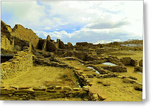 Ruins In Chaco Canyon  Greeting Card by Jeff Swan