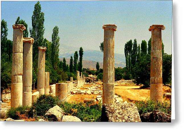 Ruins Of  Aphrodisias Greeting Card by Lou Ann Bagnall