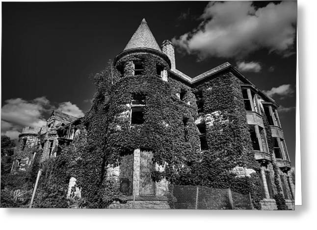 Ruins Of Detroit 001 Bw Greeting Card by Lance Vaughn